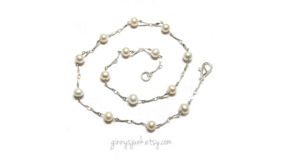 Faux Pearl Necklace with Silver Links  Bridal by GinnysJunk, $20.00