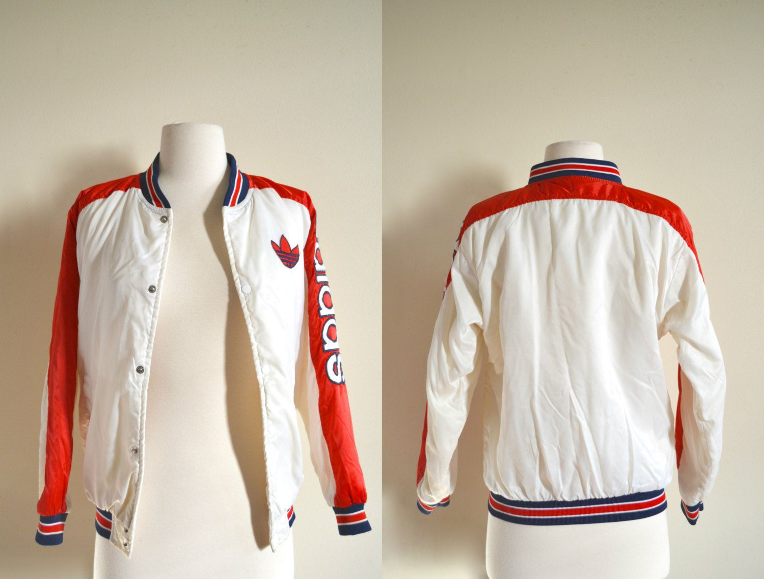 Vintage Adidas Bomber Jacket Red White And Blue Starter