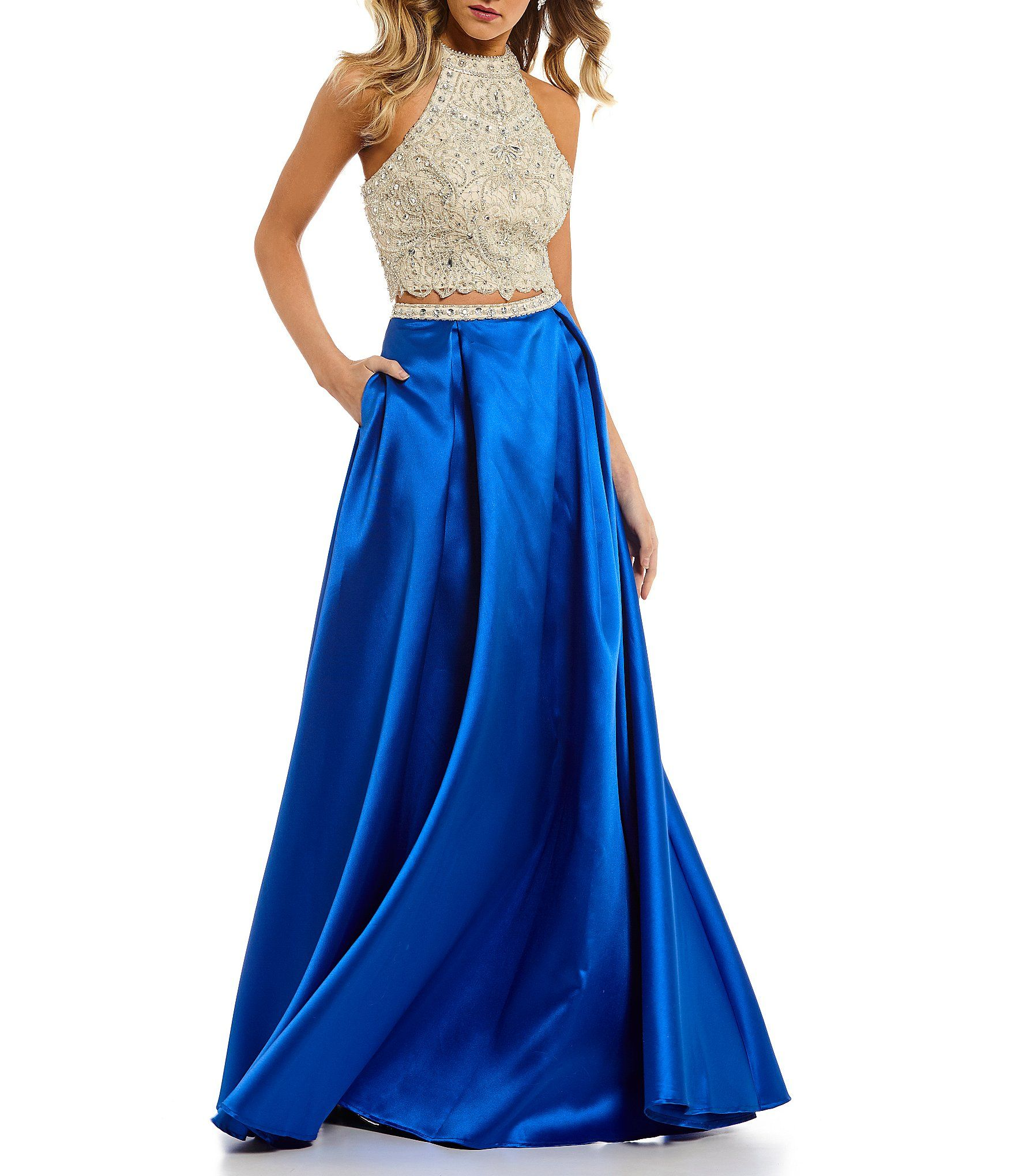 699cab6ac04 Coya Collection Intricate Beaded Bodice Two-Piece Long Dress  Dillards