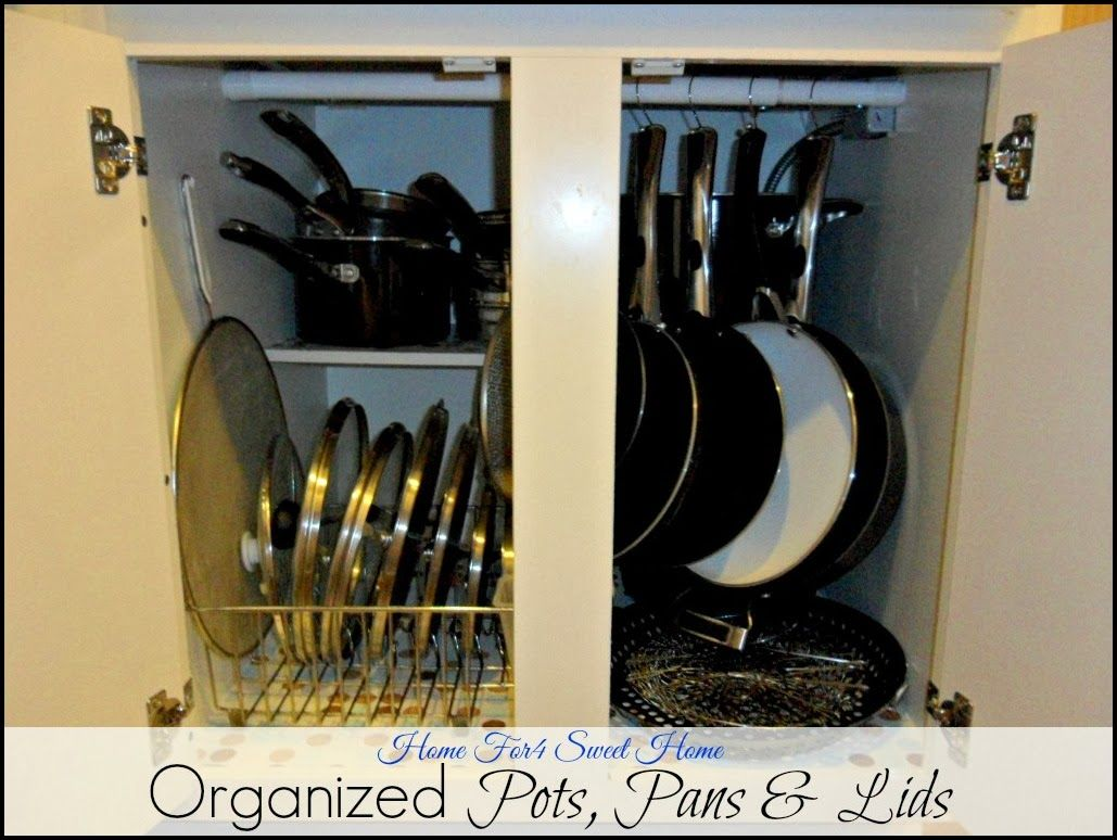 Organizing Pots Pans Why Not Include The Lids Too Kitchen