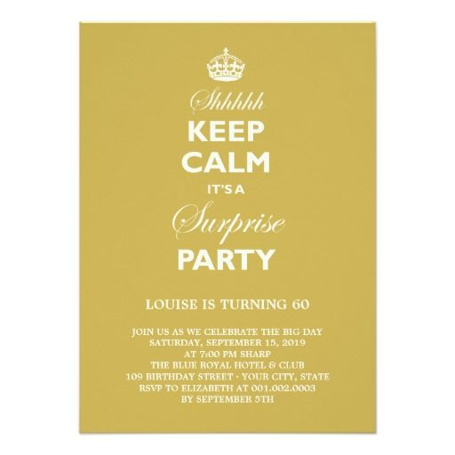Keep Calm Funny Milestone Surprise Birthday Party 45x625 Paper Invitation Card