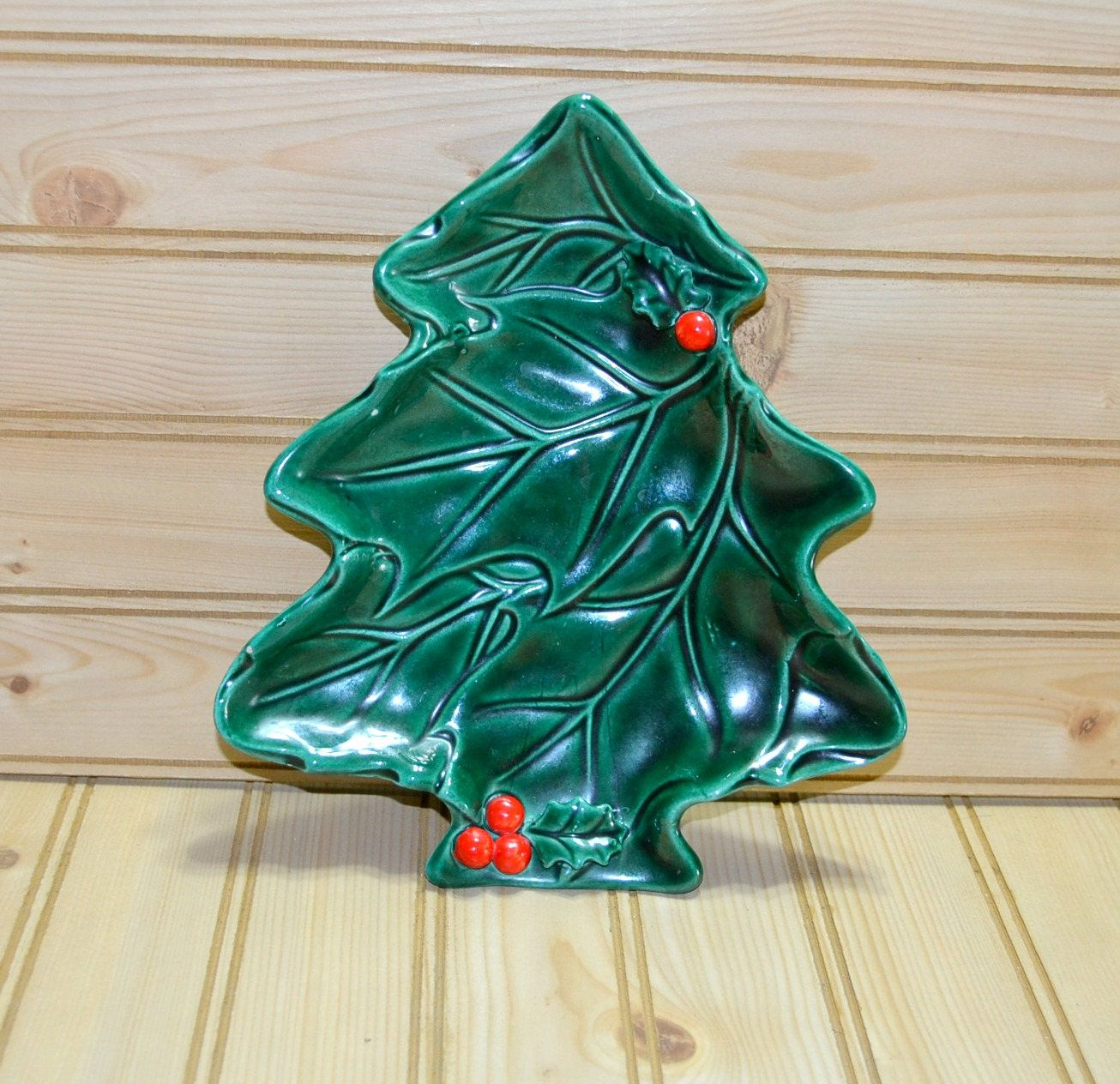 Vintage Lefton Tree Shaped Green Holly Dish Christmas Pine Candy