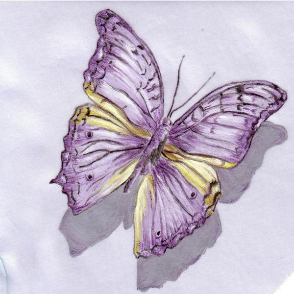 Farfalla Con Effetto Trompe L Oeil Dipinta A Mano Con Colori Perlescenti Per Stoffa Su Tessuto In Georgette Di Seta Mani Dipinti Fatto A Mano