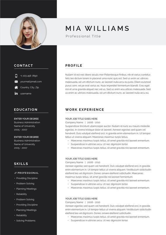Page de curriculum vitae modèle 4 moderne   Modèle de CV + lettre de motivation pour MS Word   Téléchargement   «Mia»