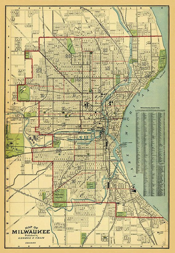 Milwaukee map - Old map of Milwaukee print - Fine reproduction | The ...