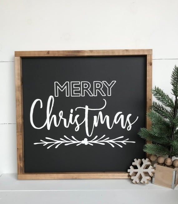 Merry Christmas Sign Black White Farmhouse | Etsy