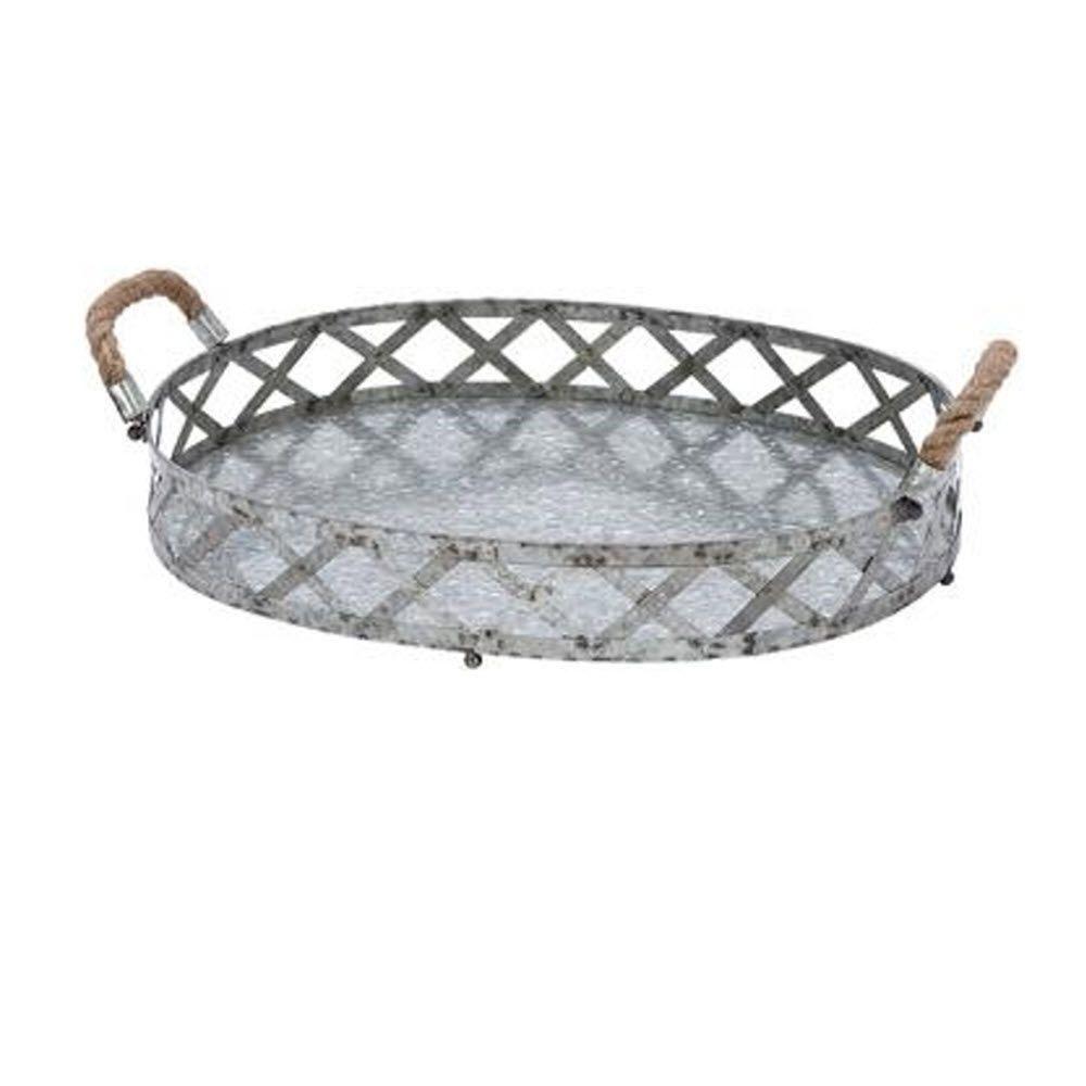 Decorative Metal Tray Galvanized 18 In W Silver Tray Trays Silver And Silver Trays