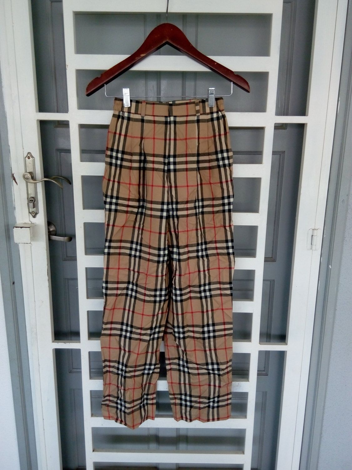 4b0a84c872a086 Vintage burberrys nova checked plaid pants for women by iwalyzaz on Etsy