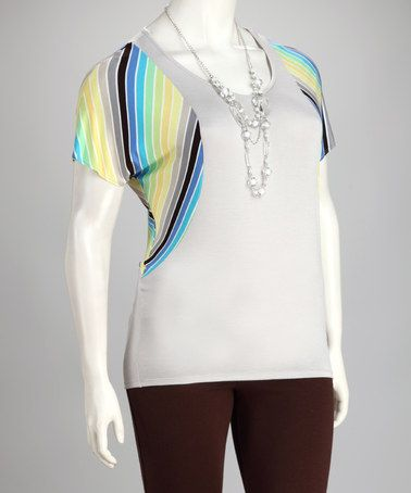 Take a look at this Silver Stripe Plus-Size Top by Jazzy Martini on #zulily today!