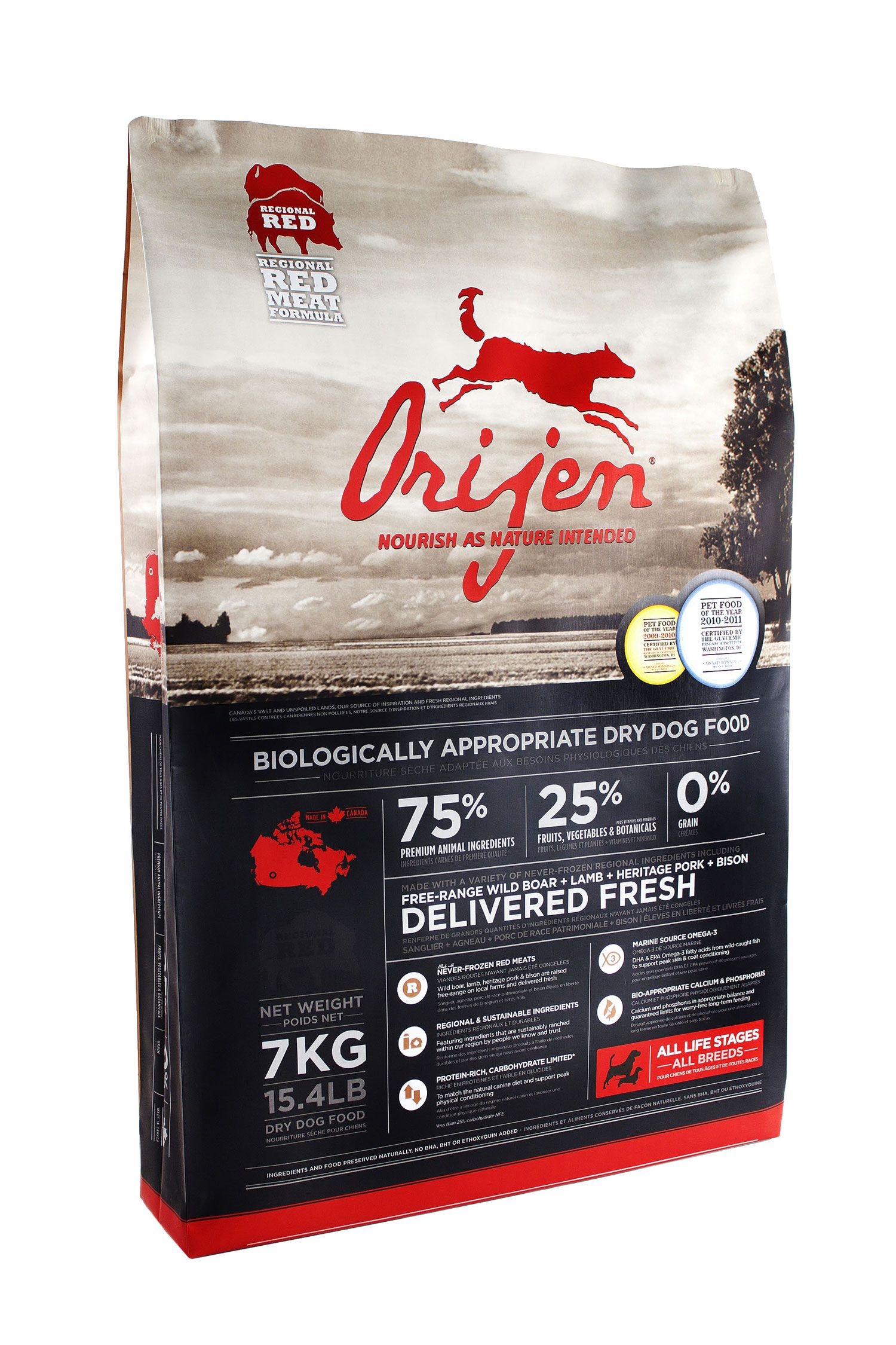 Orijen Food For Cats And Dogs Made In Canada Has Gotten The Best Dog Food Award From Washington D C For 3 Years Dog Food Recipes Best Dog Food Food Animals