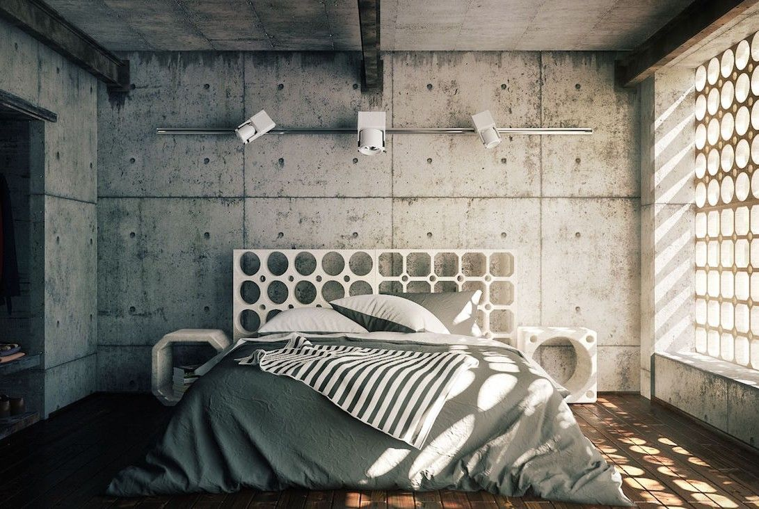 schlafzimmer gestalten im industrial style mit beton wand. Black Bedroom Furniture Sets. Home Design Ideas
