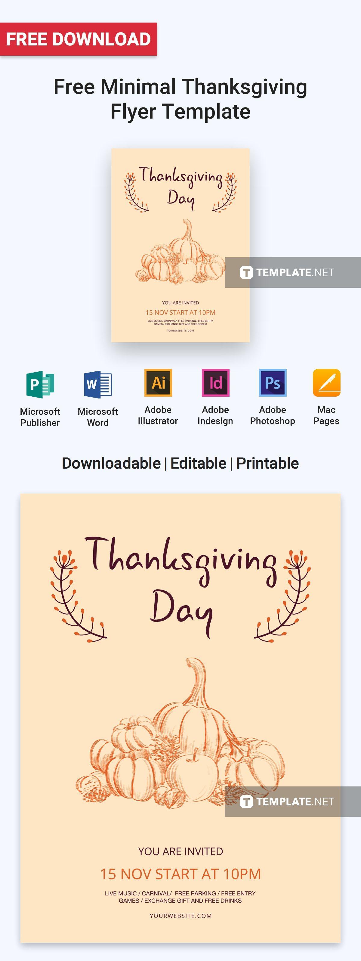 Free Minimal Thanksgiving Flyer Flyer Template Free Flyer