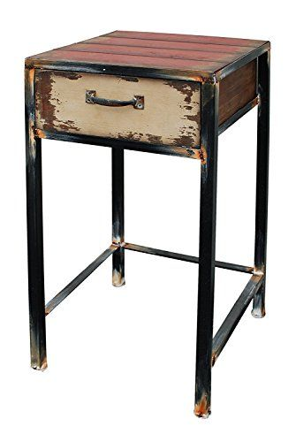 Wood And Metal Bedside Table: Wood Night Stand With Drawer, Multi-purpose Antique Accent