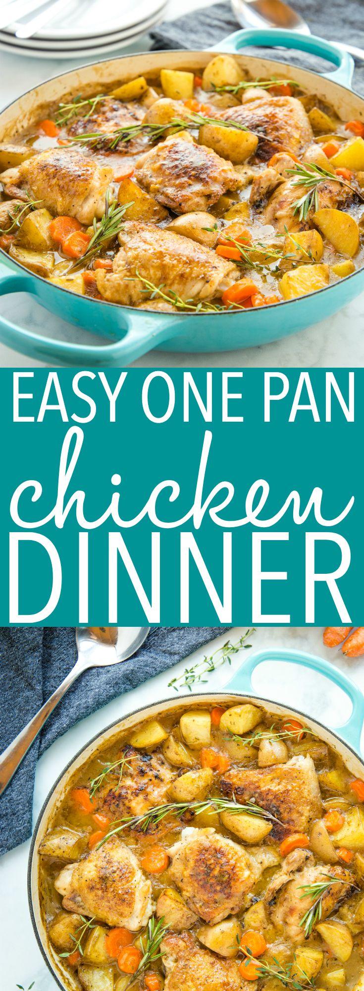 Easy One Pot Roasted Chicken Dinner #dinnerrecipesforfamilymaindishes