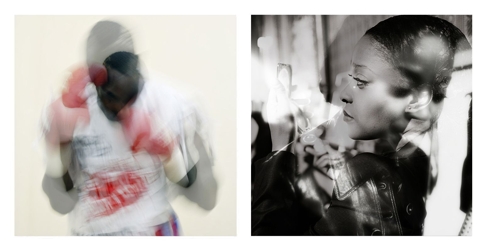 Diptyque photos au format 29x29 mat cadre 52x72 Photo Gauche : Taylor Mabika dans le vestiaire avant le combat de la défense de sa ceinture de champion d'Afrique ABU contre Ekeng Henshaw le 24 mai 2014 Libreville Gabon Photo Droite : Clarisse Hieraix Défilé « Eclosion » 2014 du 21 Janvier 2014 à l'espace Pierre Cardin mixé avec le Défilé Haut Couture «Parade amoureuse»  21 janvier 2013 au Shangri-la photo: Samuel Bailhache Edition 1/7 prix : 700€ Signée par Taylor Mabika et par Clarisse…