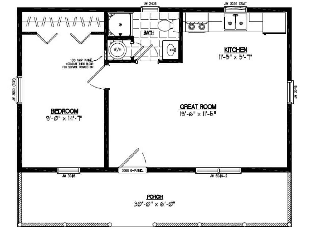 Ham 24 X 30 Pole Barn Plans Guide Cabin Floor Plans