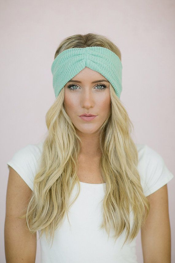 Mint Thermal Knit Headband Hair Turban Ruched Knitted
