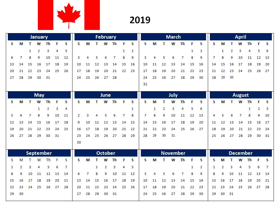 Calendar 2019 Canada 2019 Canada Printable Calendar #CanadaCalendar #2019CanadaCalendar