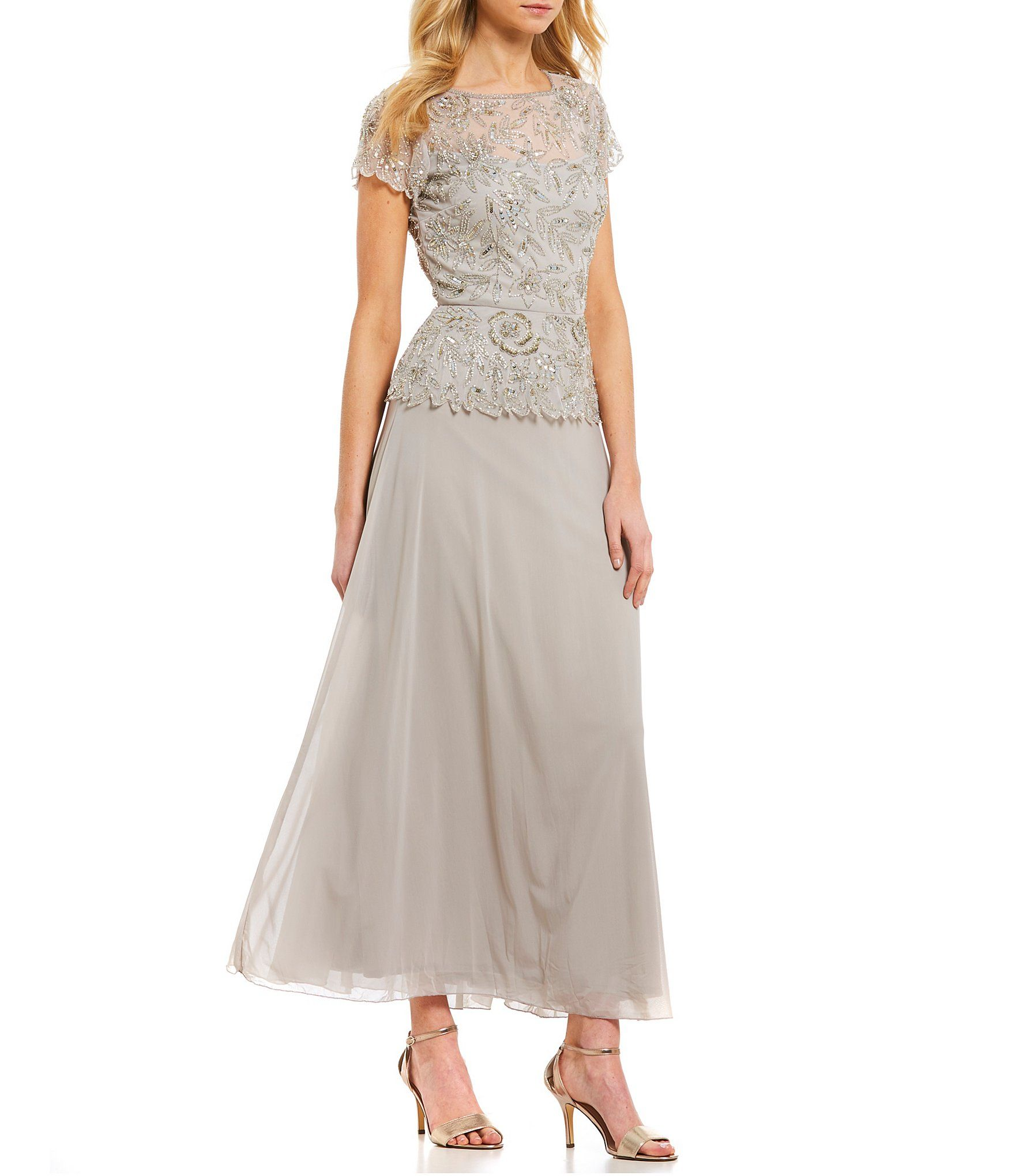 Pisarro Nights Short Sleeve Beaded Bodice Chiffon Gown Dillards Mother Of The Bride Dresses Gowns Groom Dress