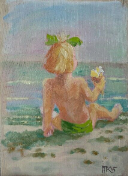 Girl and icecream at the beach in oilpaint by me
