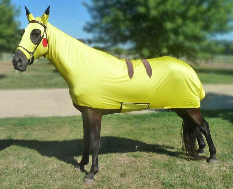 Costumes for Horses Pokemon will turn your horse instantly into Pikachu. Bright lemon yellow with red cheeks, ear covers with black tips and brown stripes