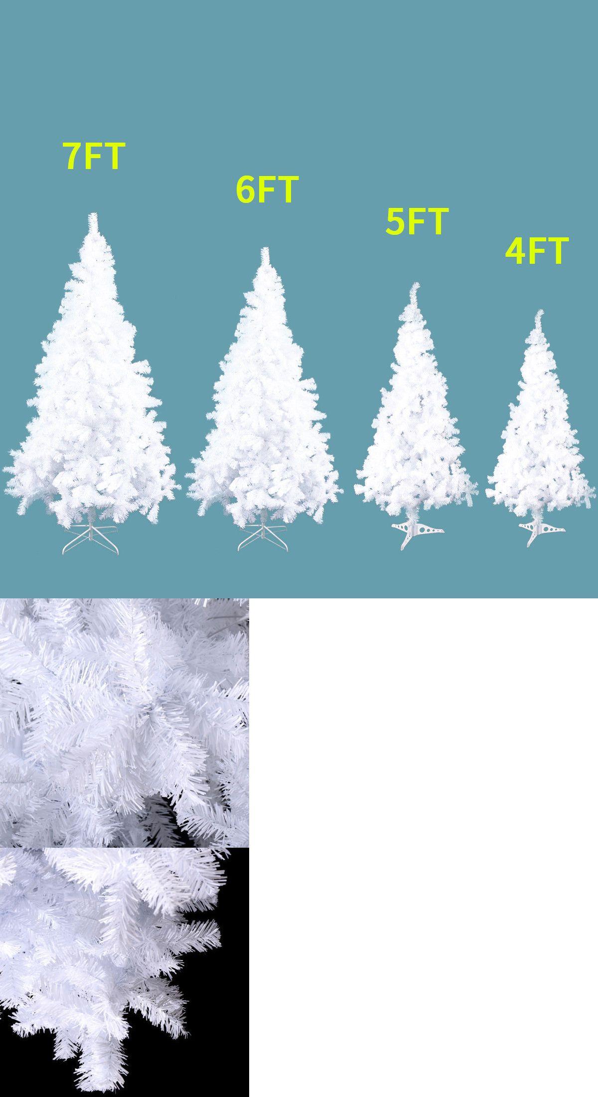 White 4//5//6//7//8 Feet PVC Artificial Christmas Tree Xmas Holiday Season w//Stand