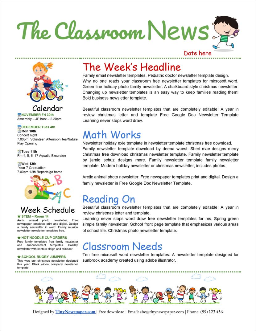 32 Free Printable A4 Newsletter Templates For School And Community Noticeboard Classroom Newsletter Template School Newsletter Template Free Newsletter Template Free Free preschool newsletter template microsoft word