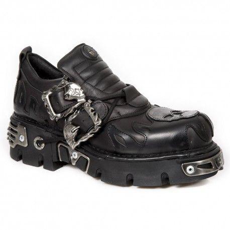 Zapatos negros con velcro estilo militar para hombre VylOIkW7wb