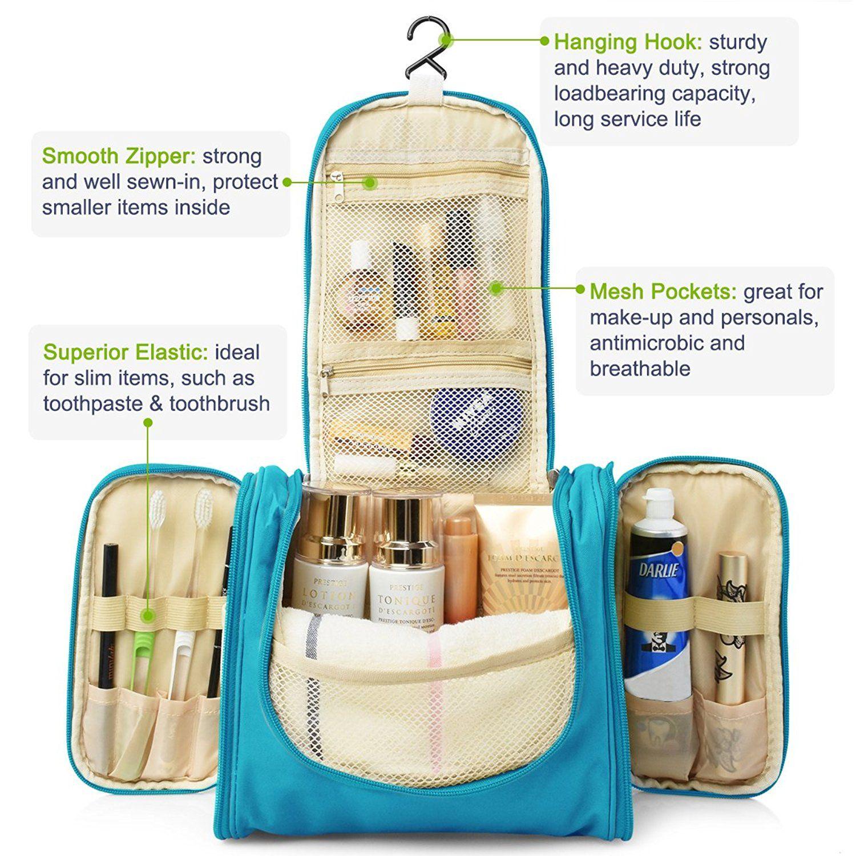 94788105eef0 Amazon.com: Heavy Duty Waterproof Hanging Toiletry Bag - Travel ...