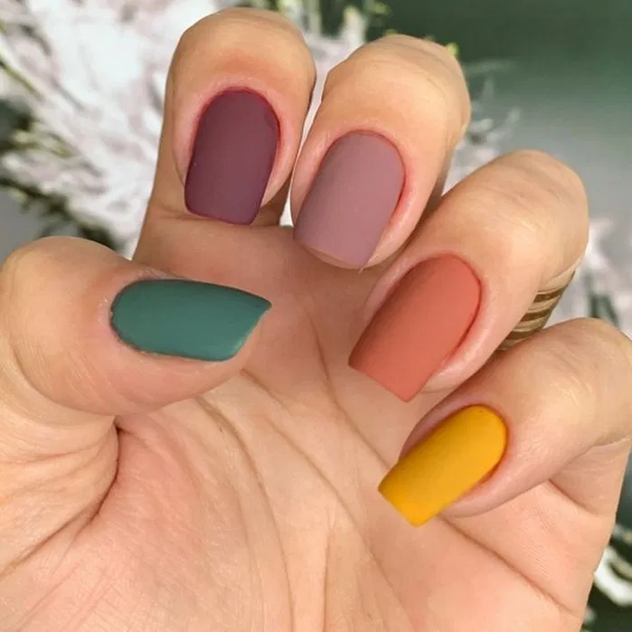 199 Enchanting Fall Color Nail Art Design Ideas To Try This Season 6 Thereds Me Multicolored Nails Minimalist Nails Matte Nails Design