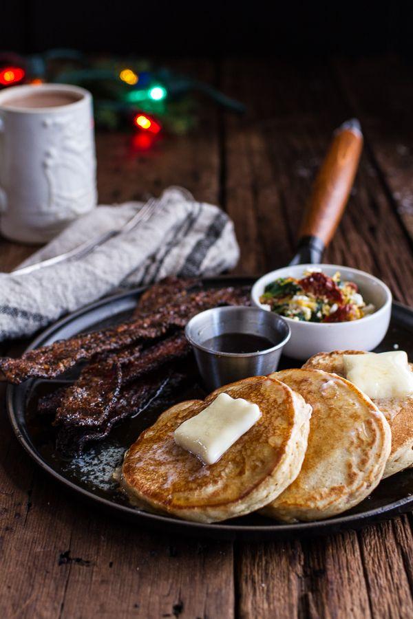 Breakfast for Dinner w/Buttermilk Ricotta Pancakes with Maple Candied Bacon + Eggs | halfbakedharvest.com @hbharvest