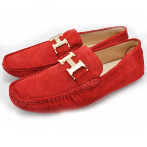 Mens Red Leather Slip-On Casual Buckle Loafer Driving Mens Car Shoes Moc Shoes (12 Red)