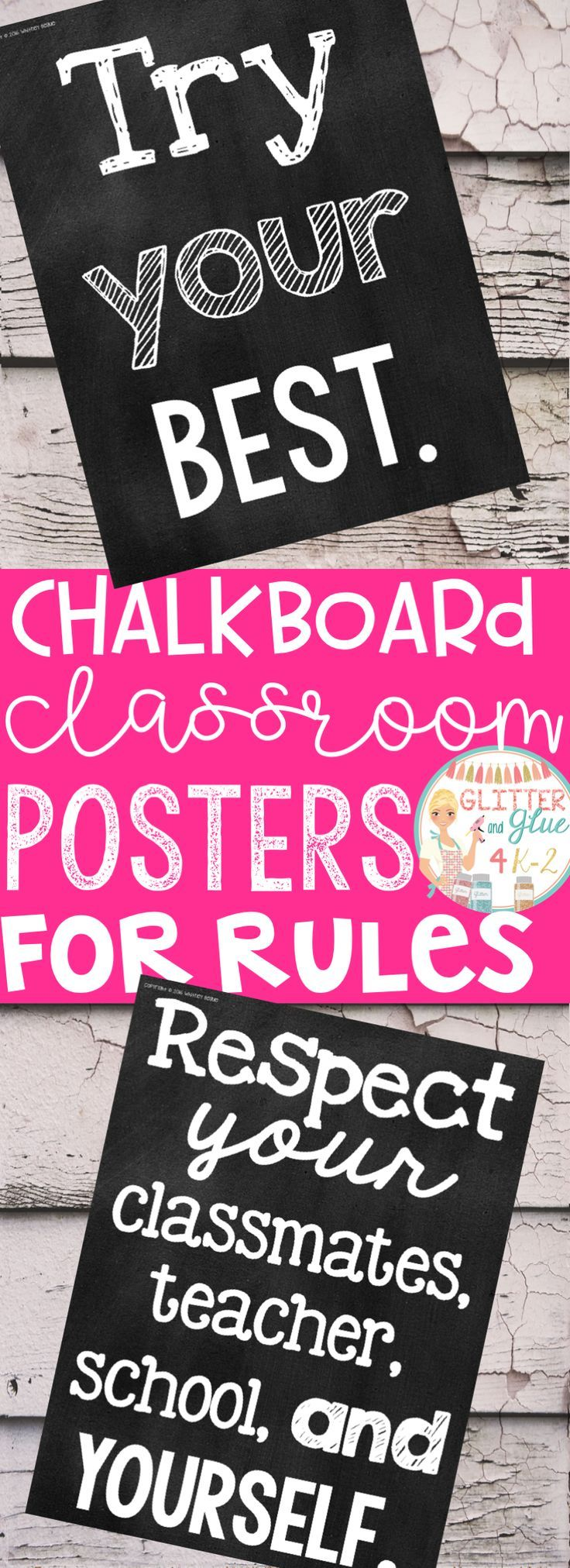 Display your classroom rules with a chalkboard theme! Included are twelve different classroom rules with a black chalkboard background and  white lettering! Keywords: back to school, rule posters, posters for rules, teachers, kindergarten teacher, first grade, second grade, third grade, classroom management, classroom décor, bright classroom, neon classroom, chalk classroom, chalk theme classroom
