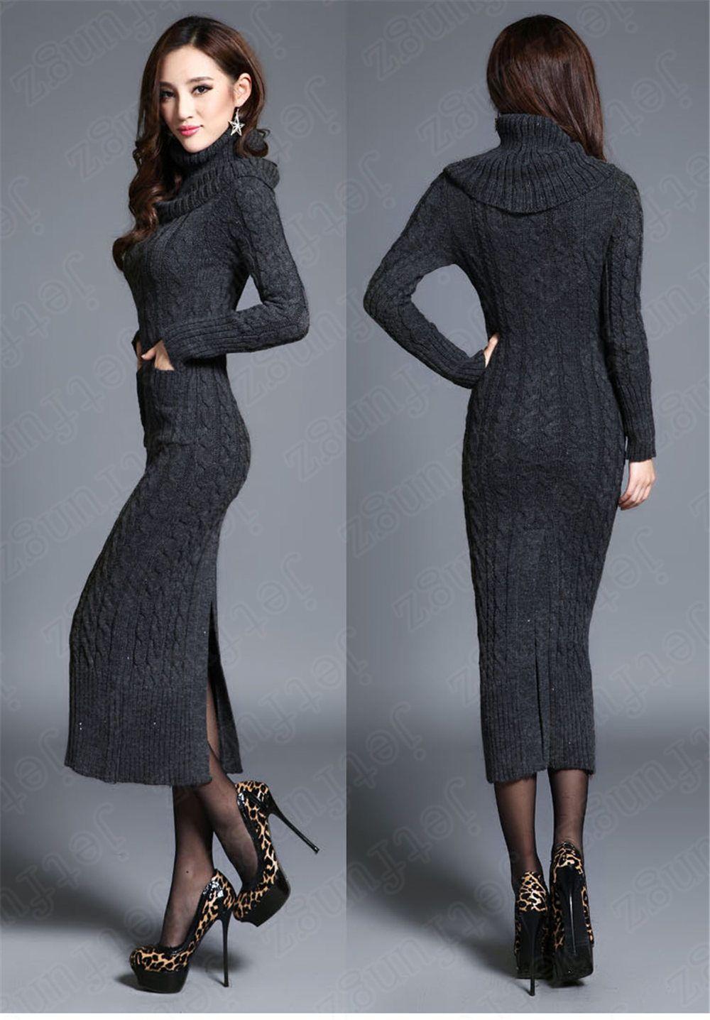 Women's Girl Maxi Turtleneck Knit Casual Sweater Dress Knitwear ...