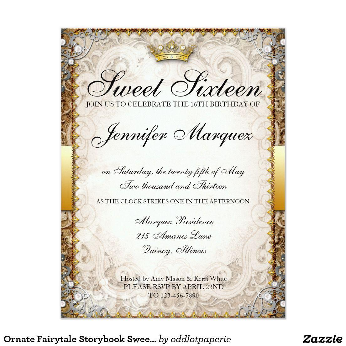 Ornate Fairytale Storybook Sweet Sixteen Invites   Sweet sixteen