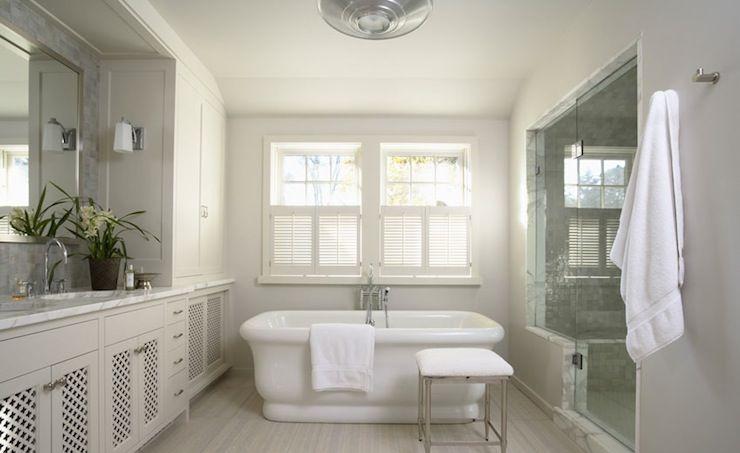 Beautiful Grey Master Bathrooms: Beautiful White & Gray Bathroom Design With White Lattice