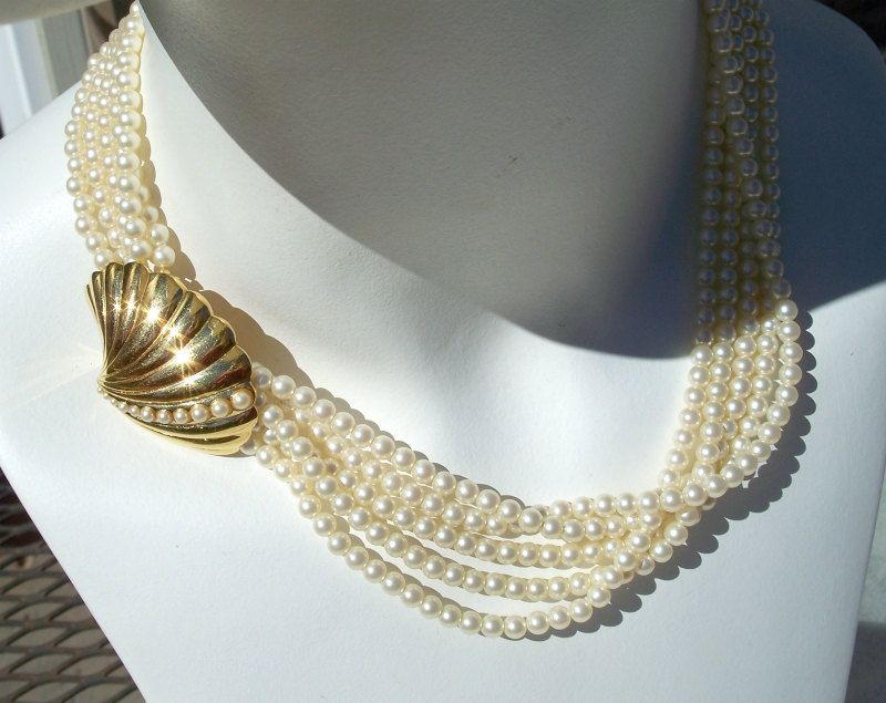 Trifari Faux Pearl Multi Strand Necklace Gold Tone Clam