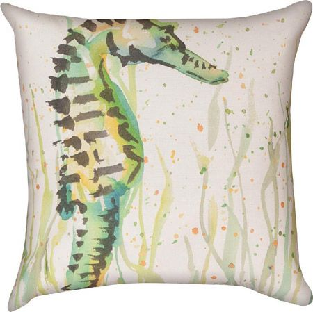 Handpainted Seahorse Climaweave Pillow | Sea inspired object ...