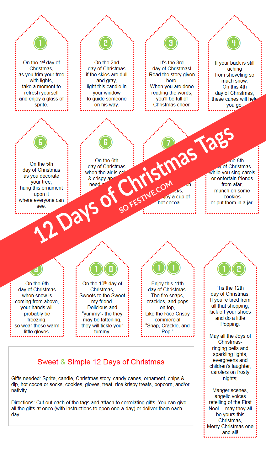 Simple 12 Days Of Christmas Gift Ideas Printable Tags 12 Days Of Christmas Christmas Tags Printable 12 Days Of Xmas