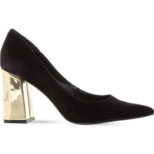 7a21b05c2ff STEVE MADDEN Pointur gold block heel courts (£45) ❤ liked on ...