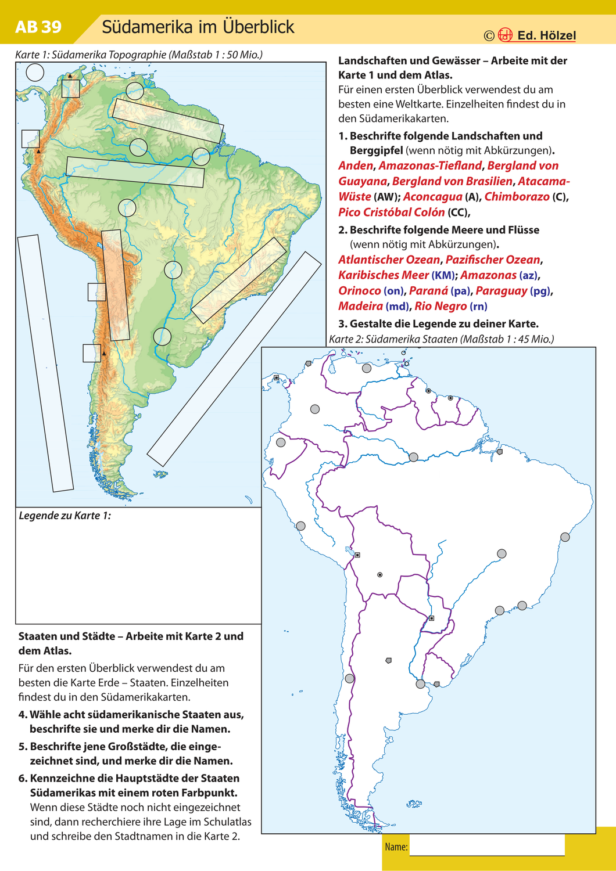 Atlasarbeit Sudamerika Topographie Unterrichtsmaterial Im Fach Erdkunde In 2020 Sudamerika Amerika Karte Erdkunde