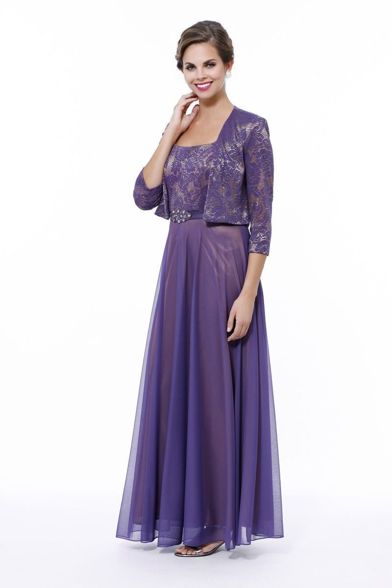 Long Modest Mother of Bride Chiffon Plus Size Dress Jacket Groom ...