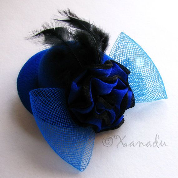 ea93ad1757 Small Royal Blue Top Hat Fascinator by xanaduaccessories on Etsy ...