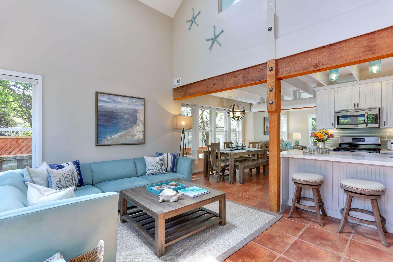 Cozy beach rental house living room home pet friendly