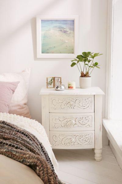 Riya Carved Wood Nightstand Wood Nightstand Home Decor Bedroom
