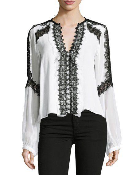 b8b2aa7d6e016 Long-Sleeve Silk Lace-Trim Blouse