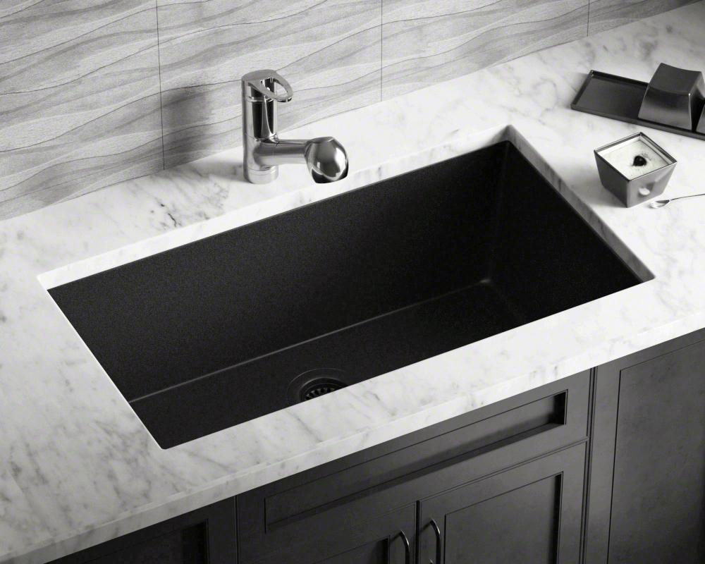 848 Black Single Bowl Undermount Quartz Granite Sink Undermount Kitchen Sinks Single Bowl Kitchen Sink Farmhouse Sink Kitchen