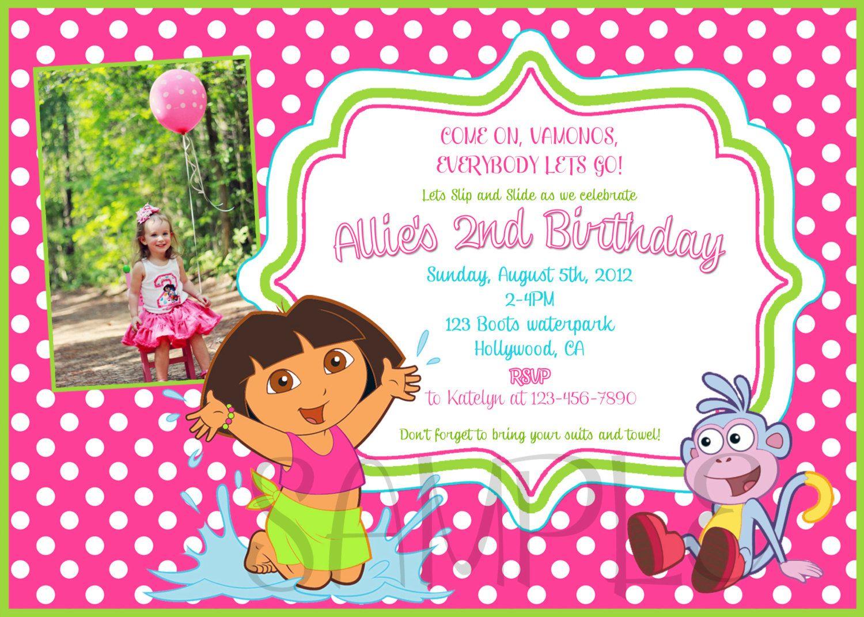 Dora the explorer pool party Invitation – Dora the Explorer Birthday Invitations