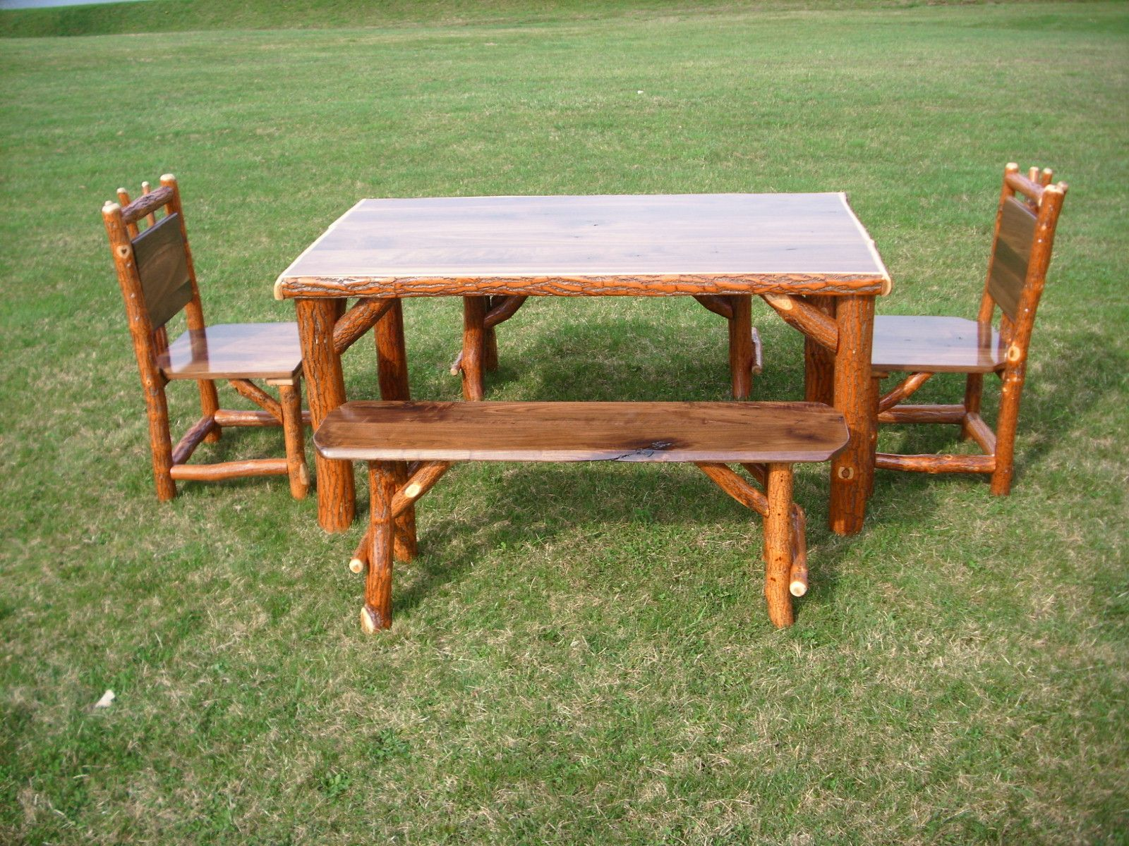 Rustic Log Sassafras Table Chairs And Benches Set With