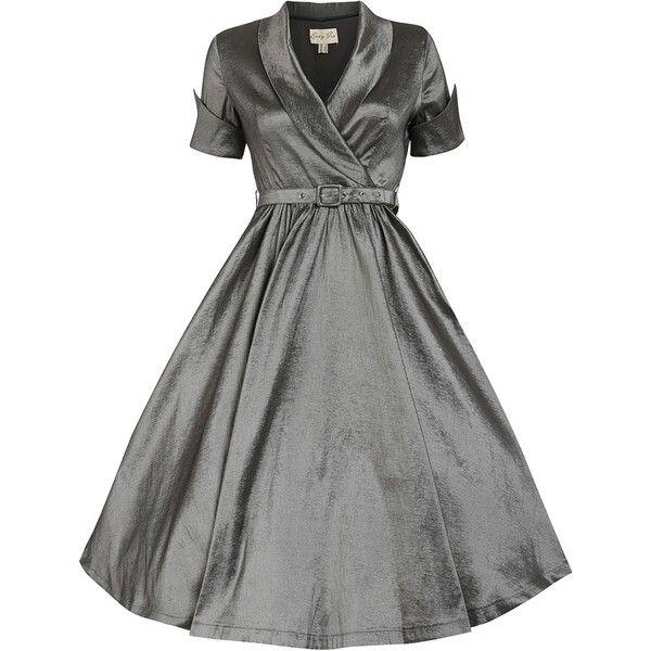 'Vanda' Pewter Gray Party Dress ($67) ❤ liked on Polyvore featuring dresses, grey, grey skater skirt, gray wrap dress, metallic cocktail dress, metallic skater skirt and skater skirt